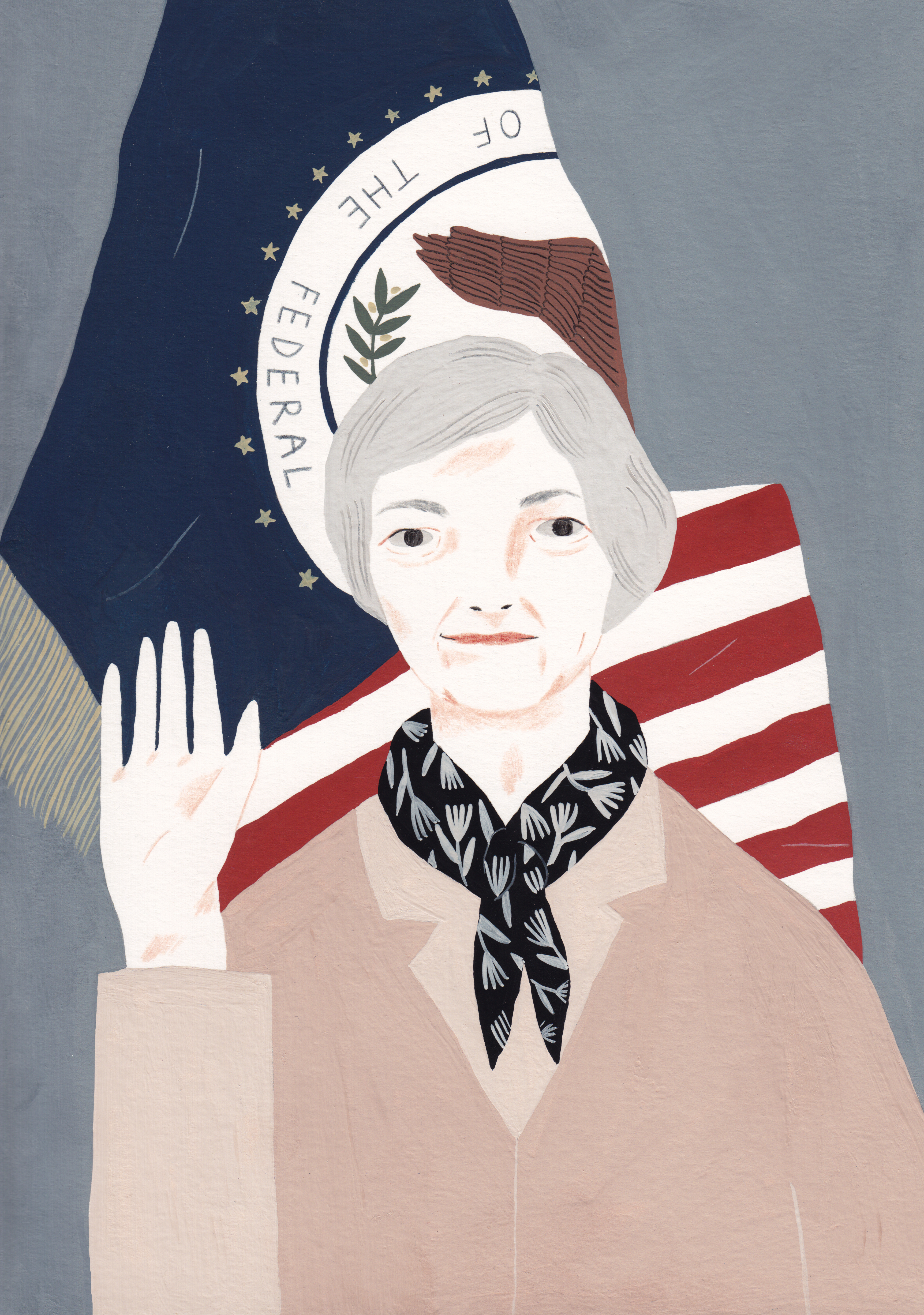 Illustration of Janet Yellen the first woman to serve as Chair of the U.S. Federal Reserve