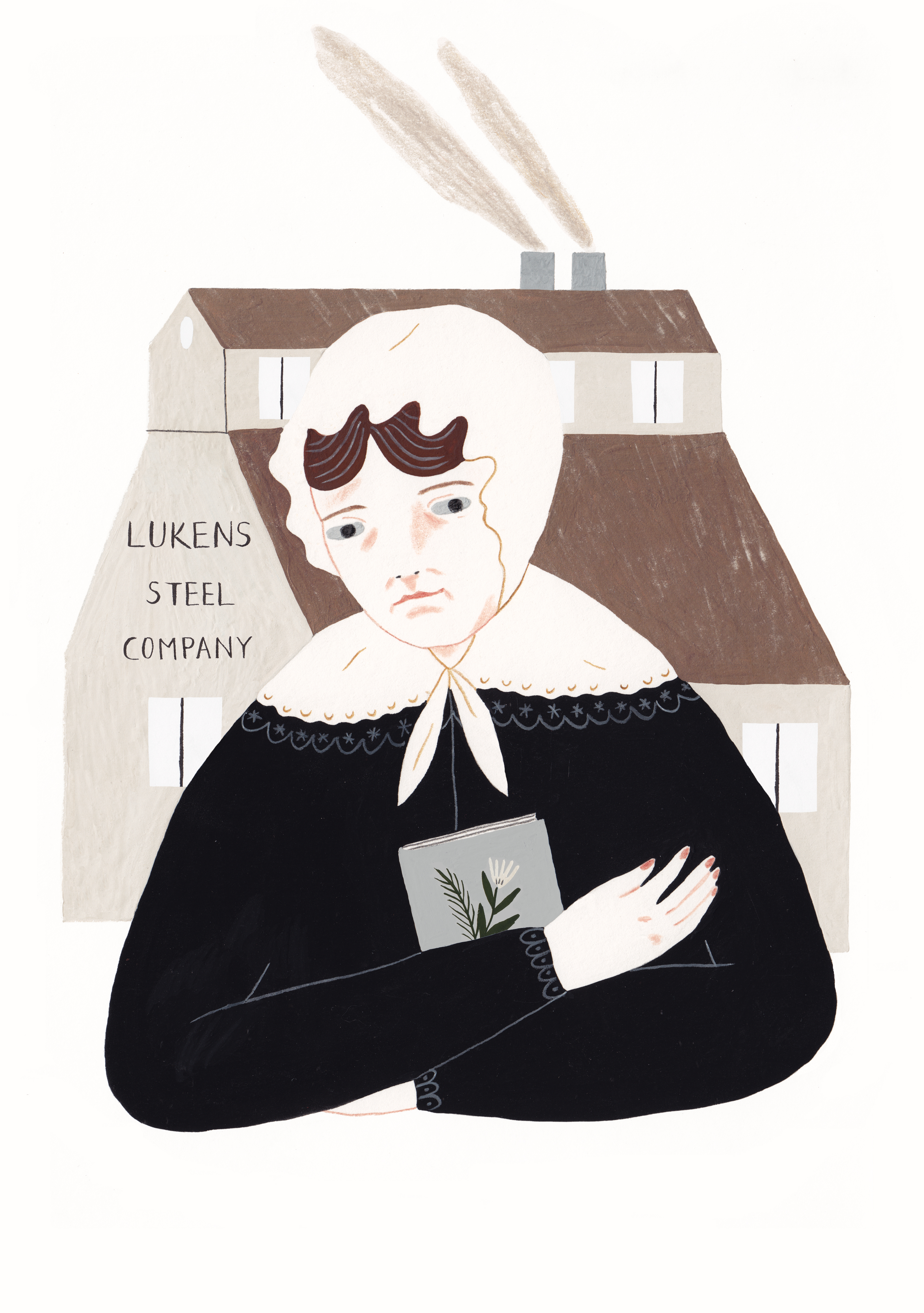 Illustration of Rebecca Lukens of Brandywine Iron, the first woman to lead a U.S. industrial company