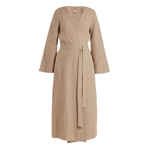 Bell-Sleeved Linen Robe