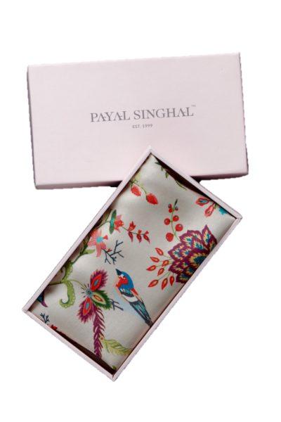 Khaki Shidiya Print Silk Pocket Square