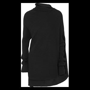 Asymmetric Ribbed Merino Wool Sweater