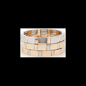 Set-Of-Three Gold Standard Mixed Metal Bracelets