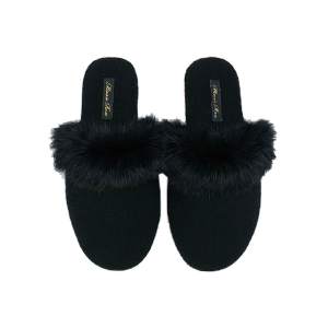 Fox Fur Trim Slippers