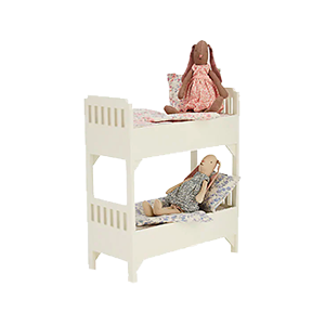 Small Wooden Bunk Bed with Bedding & 2 Bunnies