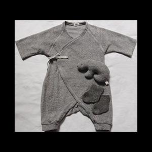 Baby Set #4 includes a gray hadagi, bear rattle, and pile socks
