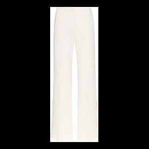 High Waist Buttoned Wide-leg Wool Trousers