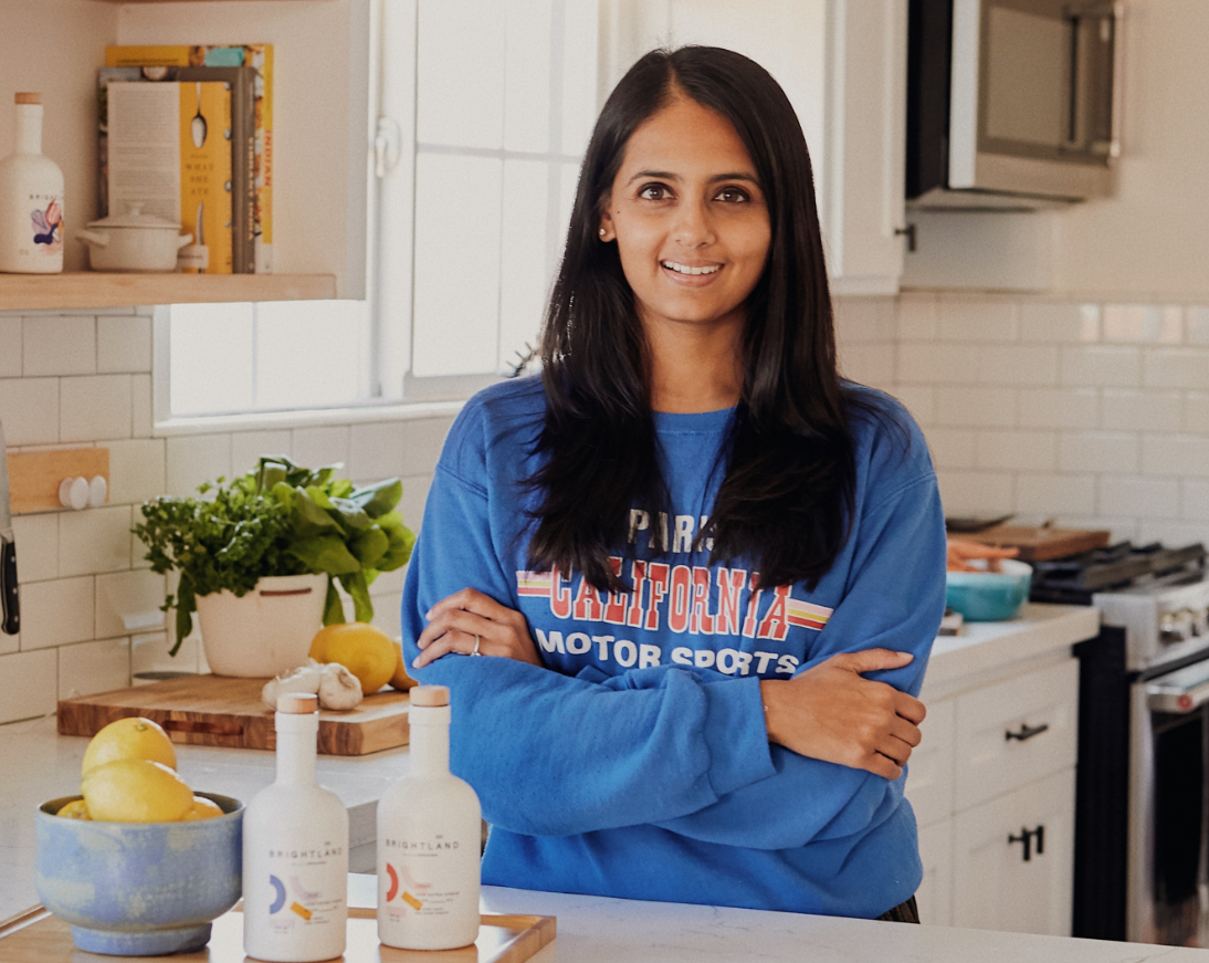 Aishwarya Iyer of Brightland Olive Oil at her kitchen counter