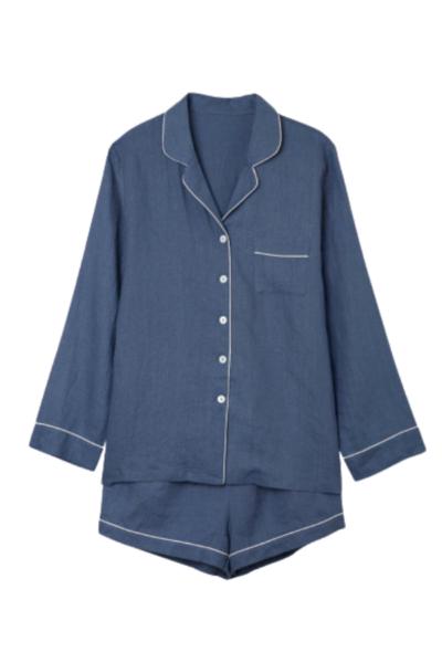 Blueberry Linen Pajama Shorts Set